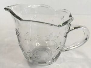 Anchor-Hocking-Savannah-Clear-Glass-Creamer-Flower-Embossed-1-Cup-Made-In-USA