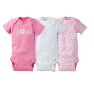 Gerber-Girl-3-Piece-Pink-034-Love-034-Onesies-Size-0-3M-Baby-Clothes-Shower-Gift