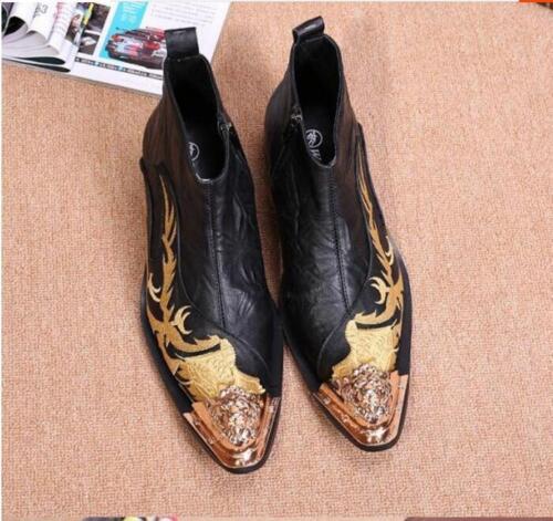 cuir 5 Taille 5 cuir or des pour robe hommes hommes 10 zippée bottines brodé dragon 4cqSARjL53