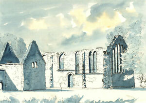 Contemporary Pen and Ink Drawing - Church Ruins In Blue