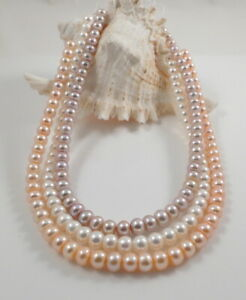 Fine Quality Oval Cultured Freshwater Pearl Necklace Magnetic Clasp 18'' /46cm
