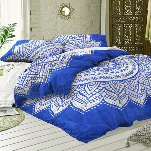 Indian Ombre Mandala Duvet Cover Cotton Handmade Doona Cover Boho Quilt Cover
