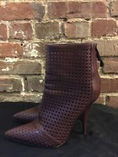 Alexander Wang Shelly Studded Burgundy Leather Ankle Boots Size 36.5