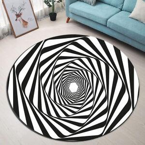 Round Carpet Living Room Area Rugs Abstract Black White Swirl Floor Mat Yoga Ebay