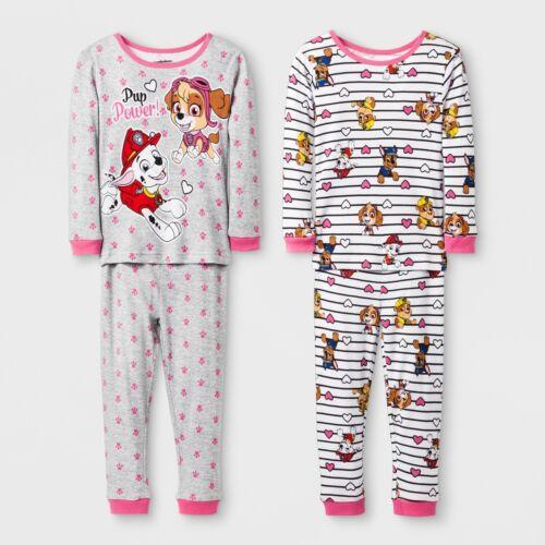 2 SETS PAW PATROL Toddler GIRLS Pajamas 2 Pc Cotton Pants Top 4 Piece
