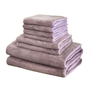 Bathroom-Towel-Kit-Microfiber-Quick-Dry-Hair-Purple-Color-Square-8Pcs-Towel-Set