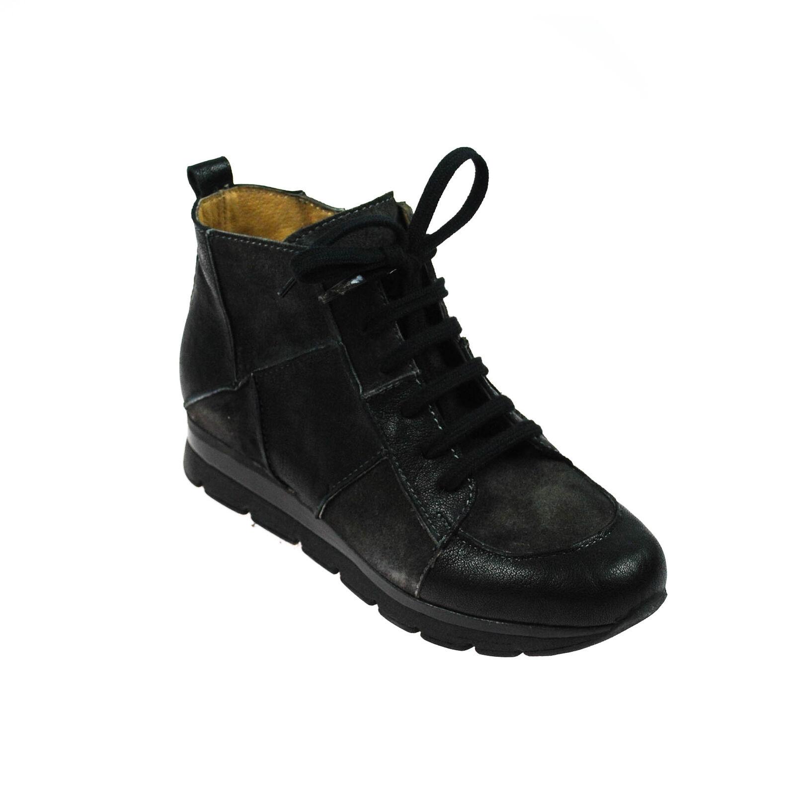 Fascino scarpe da ginnastica Donna High Top Pelle Nero Grigio Marronee MultiColoreeee Misura 37