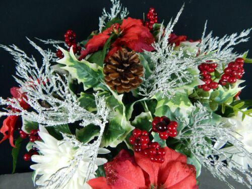 Sequined Poinsettia Deluxe Christmas Cemetery Flower Grave Headstone Vase Bush