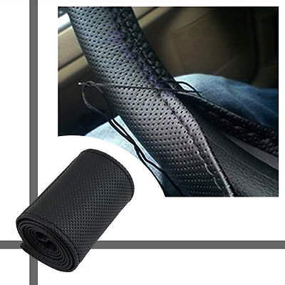 DIY PU Leather Car Auto Steering Wheel Cover With Needles and Thread Black SY