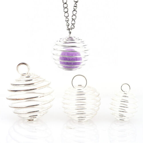30PCS//Set Spiral Bead Cages Pendants Silver Plated Craft Jewelry Making DIYGi Pl