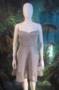 Lulu-039-s-Womens-Heavy-Mesh-White-Fit-flare-Strapless-dress-F