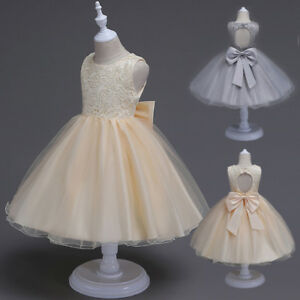 483e8974a5f2 Image is loading Pageant-Flower-Girl-Kids-Bow-Princess-Dress-Tulle-