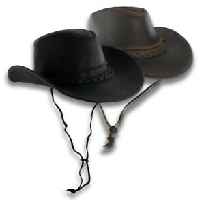 Image is loading Distressed-Brown-Leather-Outback-Hat-Aussie-Western-Cowboy- 50fb5737cd68