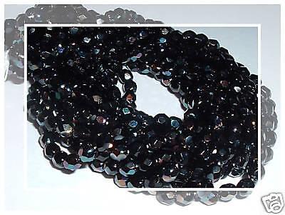 50 4mm Czech Glass Firepolish Beads Emerald Celsian