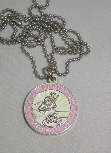 St Christopher Rides Harley Bikers Saint Medal Necklace Pink