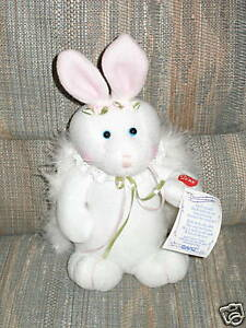 """""""April"""" Animated Musical Angel Bunny by Ganz 10"""" Mint"""