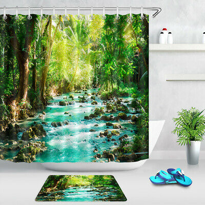Nature Landscape Waterproof Shower Courtain Hooks Included Bathroom Courtain Dec