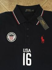Polo Ralph Lauren USA Mesh Shirt Men 2XLT French Navy wFlag Classic Fit $125 NWT