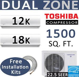 30000-BTU-Dual-Zone-Ductless-Mini-Split-Air-Conditioner-Heat-Pump-12000-18000