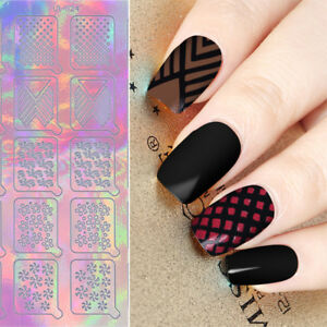 20tips Holographic Nail Vinyls Triangle Nail Art Hollow Stencil