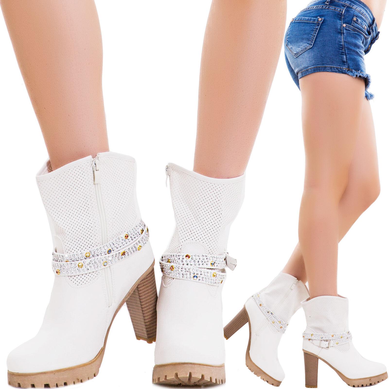 Stivali texani donna cinturino fibbia strass scarpe traforati nuovi B16313