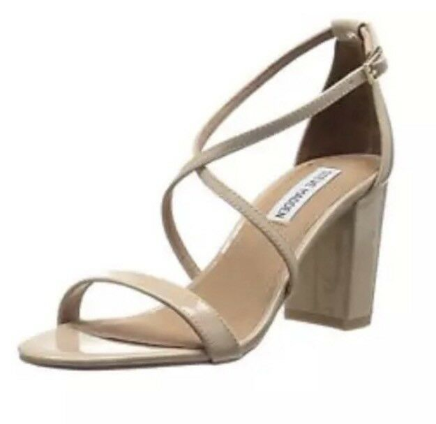 Steve Madden Diamonde Women's Patent Leather Nude Sandal Sz 8.5 M 4468