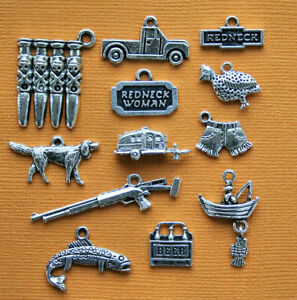 COL336 Running Charm Collection Antique Silver Tone 12 Different Charms