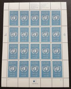 USA-1995-United-Nations-50th-Anniversary-1v-x20-Stamps-Full-Pane-Mint-NH
