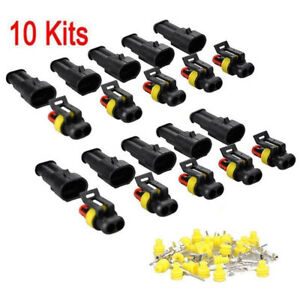 10Kits-2Pin-Way-Sealed-Waterproof-Electrical-Wire-Connector-Plug-Car-Auto-Setsvb