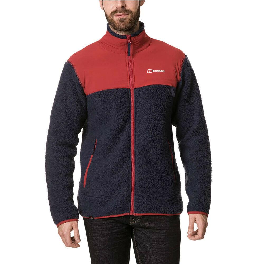 Berghaus Mens Syker Jacket Top - Navy Blau rot Sports Outdoors Full Zip Warm