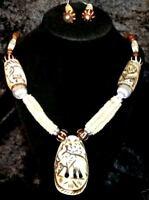 Elephant Bohemain Boho Gypsy Tribal Bellydance Ethnic Hippie Beaded Necklace Set