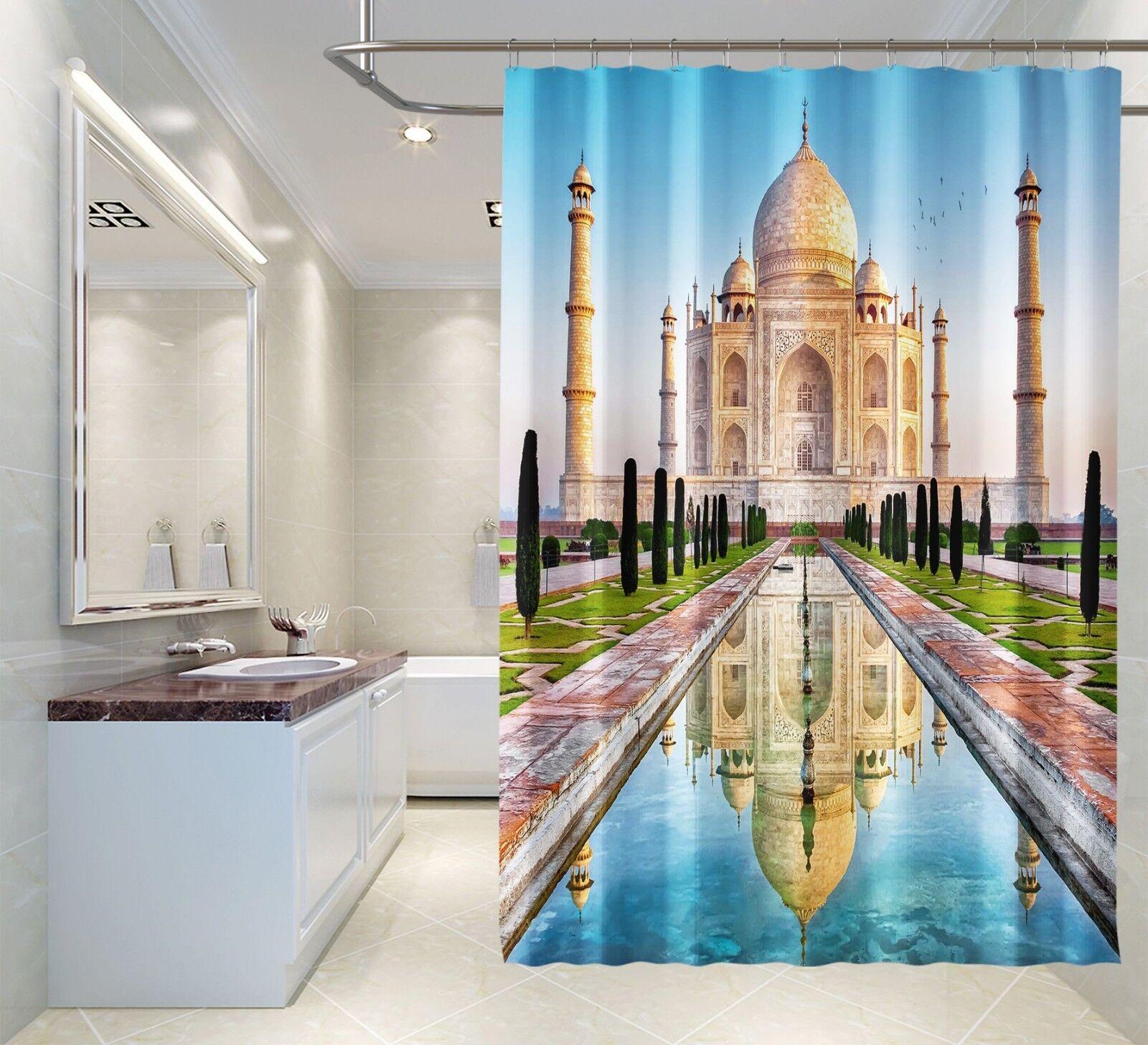 3D Taj Mahal 468 Tenda da doccia IMPERMEABILE Fibra Bagno WC CASA FINESTRE