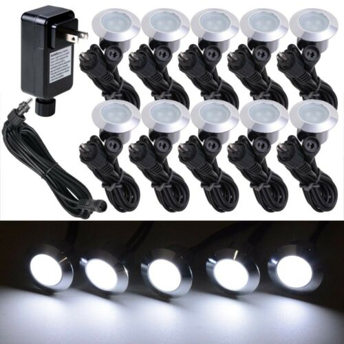 10pc Cool White LED Deck Lights Kit Outdoor Garden Step Stair Landscape Pathway