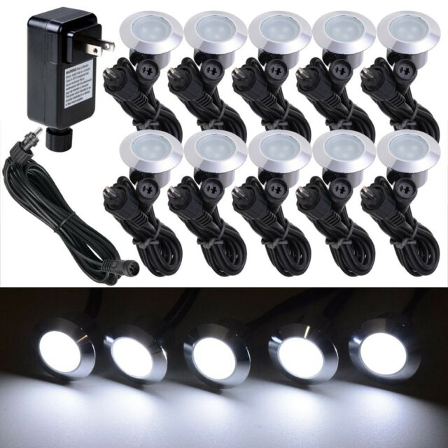 10pc Cool White LED Deck Lights Kit Outdoor Garden Patio Stair Landscape  Pathway