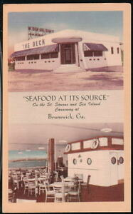 Image Is Loading Brunswick Ga The Deck Seafood Restaurant Vtg Postcard