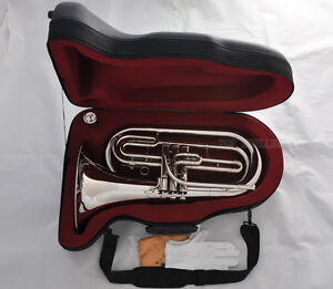10-Off-Professional-Marching-Baritone-Silver-Nickel-Bb-Tuba-Horn-New-Case