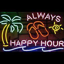 "New Always Happy Hour Beer Palm Tree Pub Neon Sign 20""x16"""