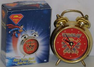 SUPERMAN MINI TWIN BELL ALARM CLOCK Model #74524