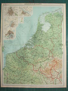 1921 LARGE MAP BELGIUM HOLLAND BRUSSELS AMSTERDAM ROTTERDAM