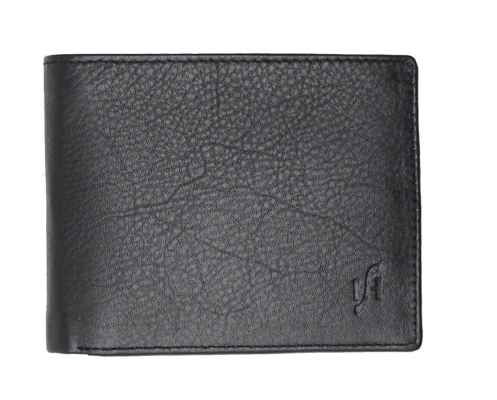 Mens RFID Blocking Soft Nappa Leather Wallet Black Grey