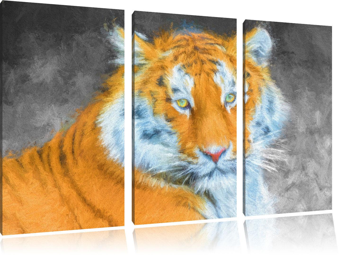 Magnifico Tigre Deluxe 3-Teiler Quadro su Tel Decorazione Parete Stampa
