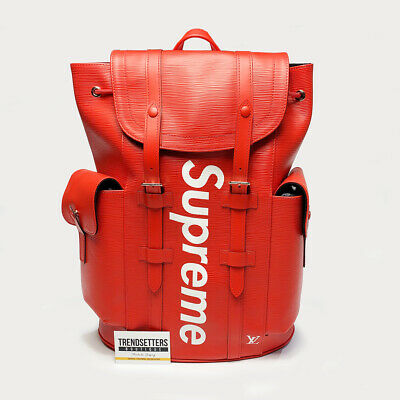 Louis Vuitton X Supreme 100 Authentic Lv Backpack Christopher Pm Bag Epi Red Ebay