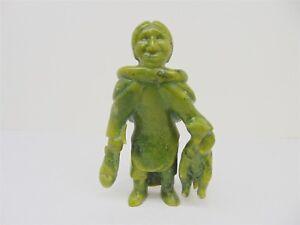 """Vintage INUIT Carved Green Jade 8"""" Eskimo Fisherman Hunter Sculpture Fish Otter"""