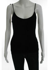 EMANUEL UNGARO Black Spaghetti Strap Scoop Neck Knit Tank Top Sz M