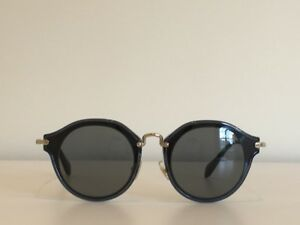 2059fb0d10a 19 Miu Miu SMU 51S 1AB-9K1 Round Black Gray Gold Gradient Sunglasses ...