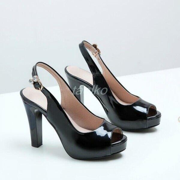 Plus sz Women's Peep Toe Platform Pumps Block High Heel Dress OL Shoes Slingback