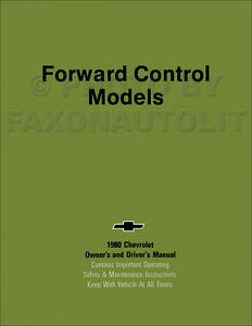 Details about 1980 Chevy Forward Control Owners Manual Class A Motorhome  Stepvan P20 P30 Book