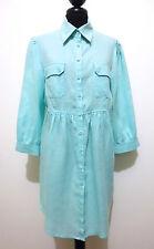 LUISA SPAGNOLI Abito Vestito Camicia Lino Linen Woman Shirt Dress Sz.M - 44