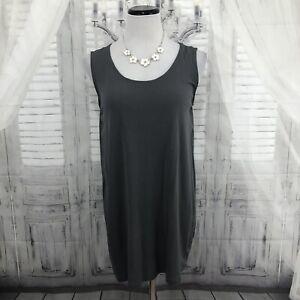 Eileen Fisher Small Gray Tank Top Tunic Blouse Sleeveless Silk Scoop Neck B46