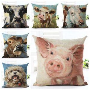 Farm-Yard-Animal-Cushion-Covers-COW-PIG-DOG-Retro-Animal-Art-Pillow-Gift-45cm
